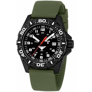 KHS Tactical Watches Reaper  Silikonband Olive   RED HALO H3 Leuchtsystem