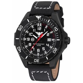 KHS Tactical Watches KHS Tactical Watches Landleader Black Steel Büffelleder