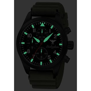 KHS Tactical Watches Black Airleader Chronograph with green rubber bracelet