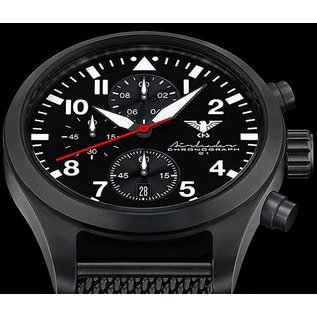 KHS Tactical Watches Airleader Black Steel Chronograph mit schwarzen Diver Armband.