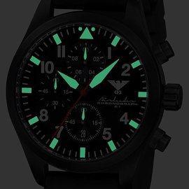 KHS Tactical Watches Black Airleader Chronograph schwarzes Diverband
