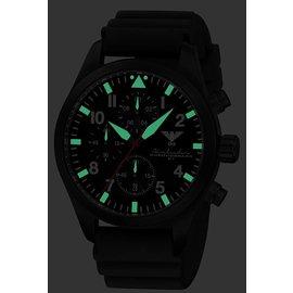 KHS Tactical Watches Black Airleader Chronograph schwarzes Diverband