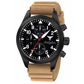 KHS Tactical Watches Black Airleader Chronograph, Diver Band Tan
