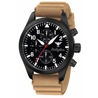 KHS Tactical Watches Airleader Black Steel Chronograph mit beigen Diver Armband.