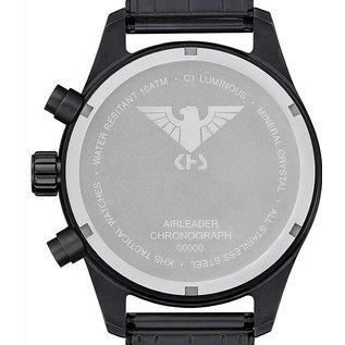 KHS Tactical Watches Airleader Black Steel Chronograph mit schwarzen Nato Armband
