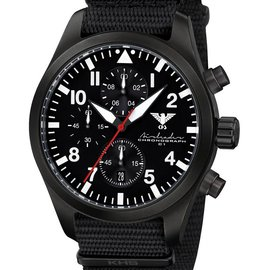 KHS Tactical Watches Black Airleader Chronograph, schwarzes Nato Band
