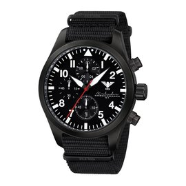 KHS Tactical Watches Black Airleader Chronograph, Nato Band Black