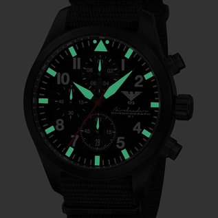 KHS Tactical Watches Airleader Black Steel Chronograph mit schwarzen Nato Armband