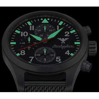KHS Tactical Watches KHS Black Airleader Chronograph with green nato band