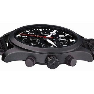 KHS Tactical Watches Airleader Black Steel Chronograph mit beigen Nato Armband