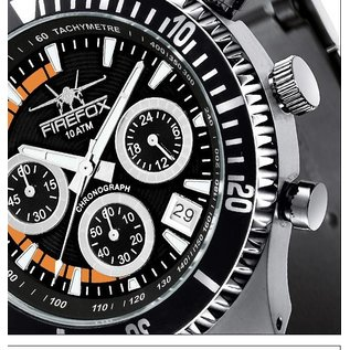 Firefox Watches  SILVER SURFER Chronograph Fliegeruhr Orange Edelstahl