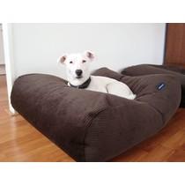 Hondenbed large chocolade bruin ribcord