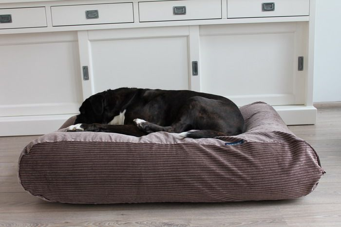 Dog's Companion® Hondenbed extra small bruin/beige duo ribcord