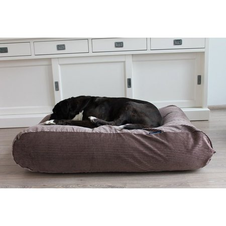 Dog's Companion® Hondenbed bruin/beige duo ribcord small