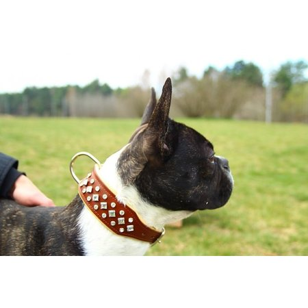 Leren hondenhalsband met kristallen