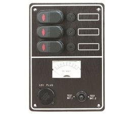 Schakelpaneel + accutester + stopcontact