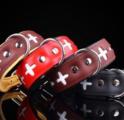 Leren honden halsband Swiss
