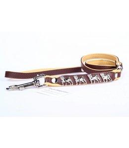 Leather dog leash Pug
