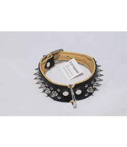 Dog's Companion® Leren halsband - met spikes - 45-53 cm x 40 mm - Zwart/Naturel