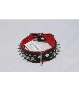 Dog's Companion® Leren halsband - met spikes - 45-53 cm x 40 mm - Zwart/Rood