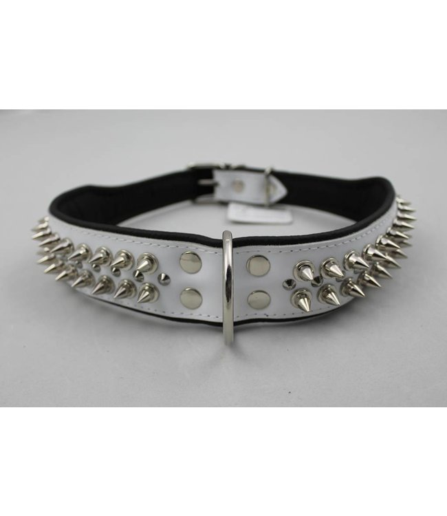 Dog's Companion Leren halsband - met spikes - Wit/Zwart - 60-73 cm x 50 mm
