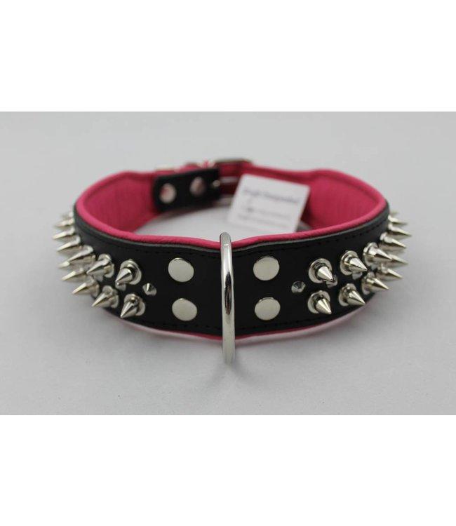 Dog's Companion Leren halsband - met spikes - Zwart/Roze - 60-73 cm x 50 mm