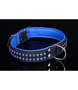 Leren halsband blauw met kristallen