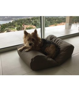 Dog's Companion Dog bed taupe leather look Small