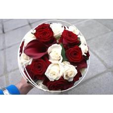 bruidsboeket wit-rood