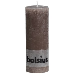 Bolsius leuke kaars. Rustieke stompkaars 190/68 mm taupe