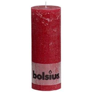 Bolsius Mooie kaars. Rustieke stompkaars 190/68 mm wijnrood