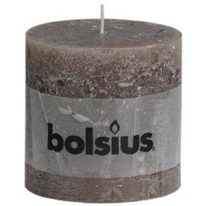 Bolsius Rustieke stompkaarsen 100/100 mm taupe