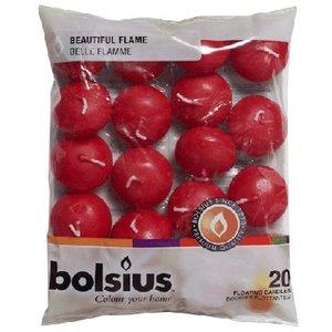 Bolsius Drijfkaarsen kleur wijnrood 30/45 mm 20 stuks in een zak