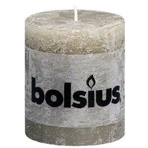 Bolsius kaarsen Kleine Rustieke stompkaarsen 80/68 mm kiezelgrijs
