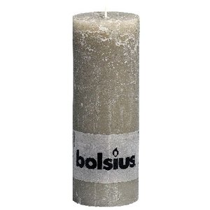 Bolsius Rustieke stompkaars 190/68 mm kiezelgrijs