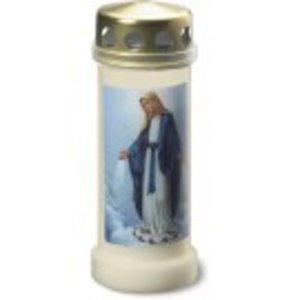 Bolsius Herdenkingslicht nr 6 met deksel+afbeelding Maria Transparant