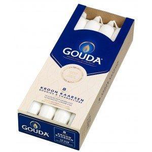 Gouda Kroonkaarsen Satijn wit 8 in een doos 240/24 mm