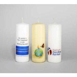Bedrukte kaarsen 200/70 mm met een foto, logo of tekst