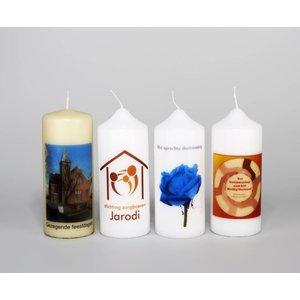 Bedrukte kaarsen 150/60 mm met tekst, foto of logo