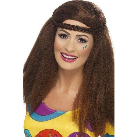 Hippie chick afro pruik bruin