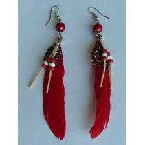 Oorbellen Indian veer Rood