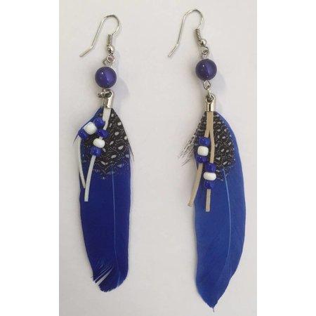 Indiaanse veer oorbellen blauw