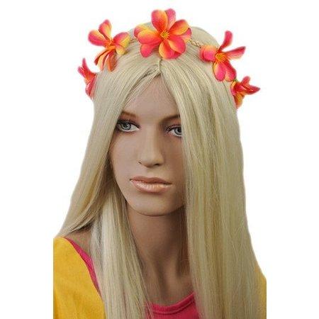Haarband met Bloemen Roze/Geel