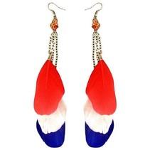 Veren oorbellen Holland rood/wit/blauw