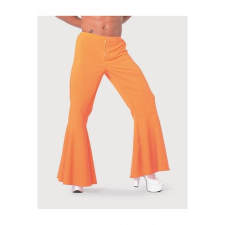 Hippie broek bi-stretch man neon oranje