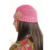 Muts Hippie gehaakt neon pink