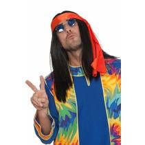 Hippie pruik zwart + hoofdband