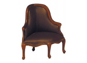 HuaMei Collection Fauteuil kwart rond, bruin leder