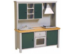 Deluxe Collection Keukenkast met aanrecht, fornuis en oven, grijs/ groen/ eiken