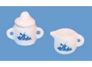 Euromini's Suikerpot en melkkan, delftsblauw